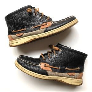 Sperry Black Leather High-top Boat Shoes